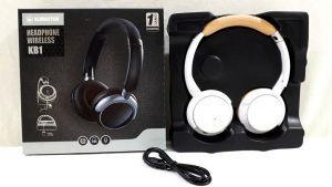 Fone de ouvido BLUETOOTH K1/KB1 Kimaster branco/bege com entrada para cartão micro SD, rádio FM, entrada P2, indicador LED, bateria Lítio e microfone para atender chamadas. Produto NOVO, sem uso.